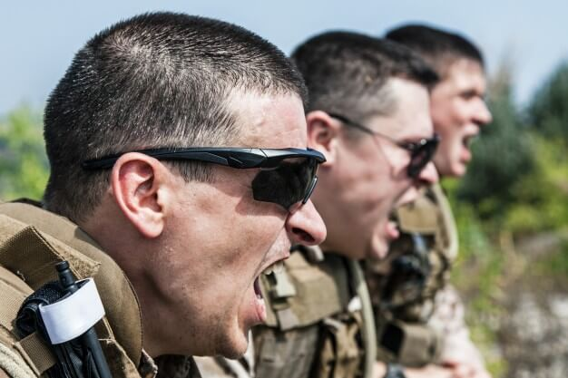 drill sergeant shouting instructions