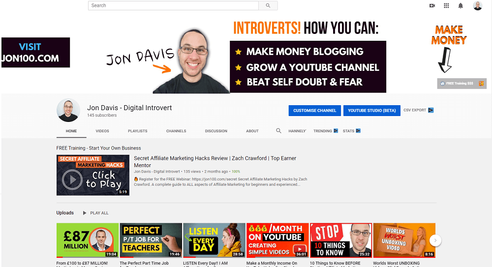 jon davis youtube channel jon100 bannetr