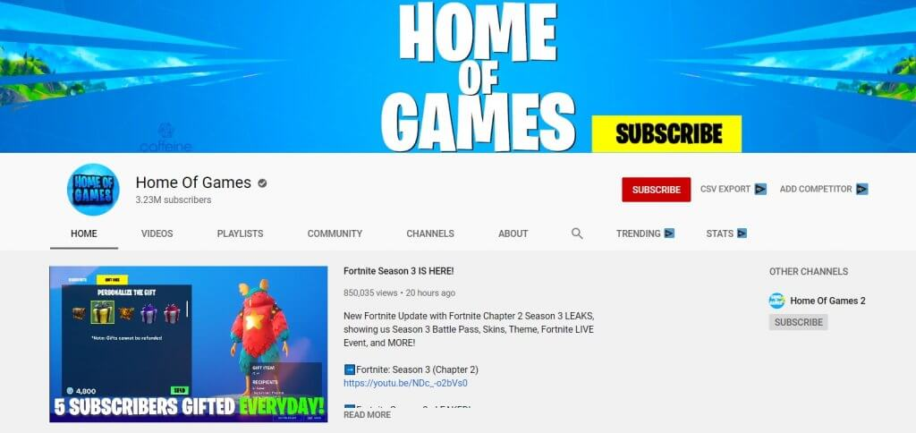 home of games youtube channel