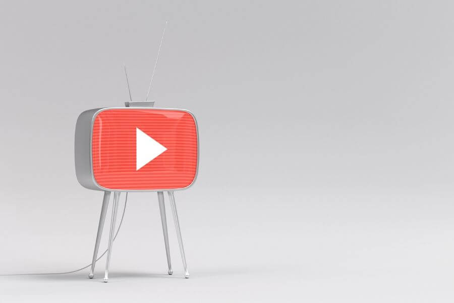 youtube logo on stand