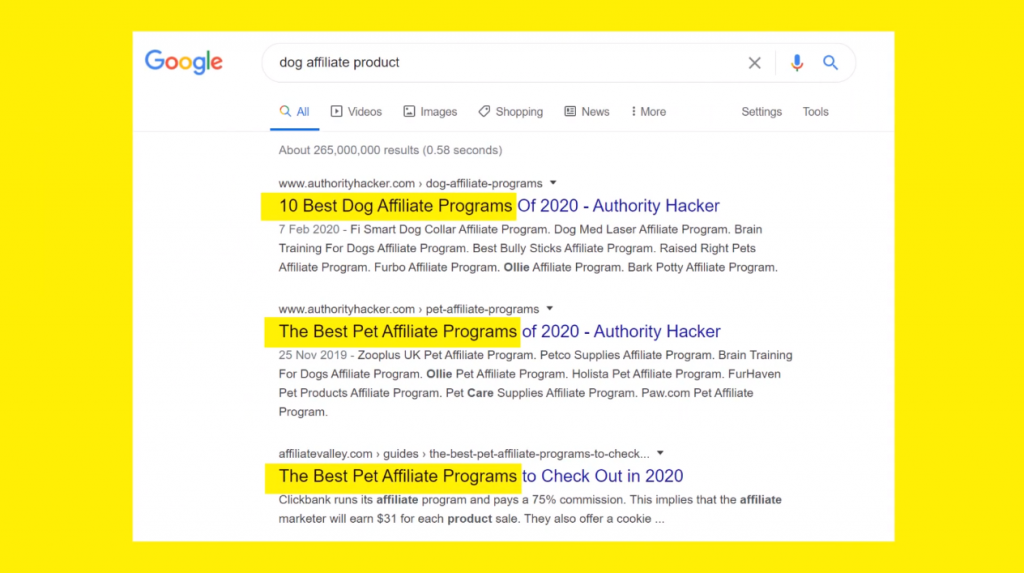 find affiliate products in google