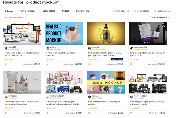 example product mockups fiverr